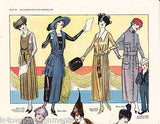WOMEN'S DRESSES IN COLD WEATHER WEAR VINTAGE 1920s GRAPHIC ART FASHION AD PRINT - K-townConsignments