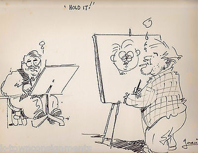 DUELING WWII ERA NEWS CARTOONISTS LARGE INK SIGNED CARTOON SKETCH BRYAN & LORING - K-townConsignments