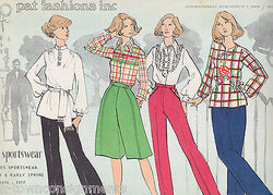 PAT FASHIONS INC VINTAGE 1970s NEW YORK LADIES SPORTSWEAR CLOTHING DESIGN BOOK - K-townConsignments