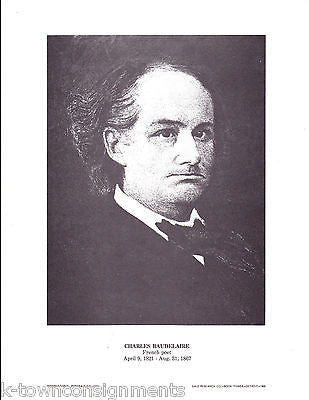 Charles Baudelaire French Poet Vintage Portrait Gallery Poster Print - K-townConsignments