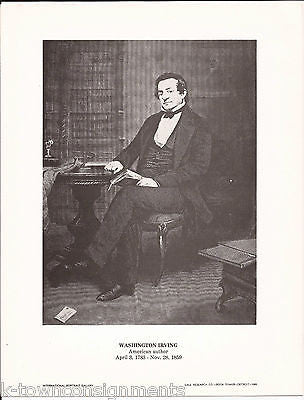 Washington Irving American Author Vintage Portrait Gallery Poster Sketch Print - K-townConsignments