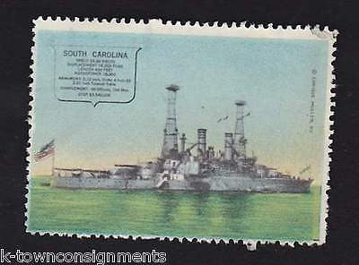 USS SOUTH CAROLINA NAVAL BATTLESHIP VINTAGE ENRIQUE MULLER GRAPHIC POSTAGE STAMP - K-townConsignments