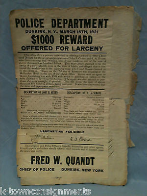 1920s POLICE WANTED POSTER & AUTOMOBILE CAR THEFT LETTERS CARDS ...
