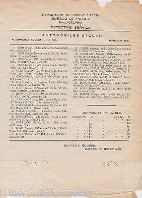 1920s Automobile Car Theft Police Insurance Documents Lot K