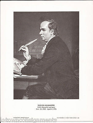 Oliver Goldsmith Irish Dramatist Vintage Portrait Gallery Poster Sketch Print - K-townConsignments
