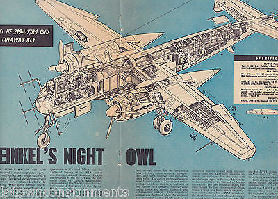 HEINKEL HE 219A NIGHT OWL PLANE VINTAGE ROYAL AIR FORCE AVIATION POSTER PRINT - K-townConsignments