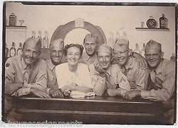 FULLY IDed MILITARY MEN AT BAR VINTAGE WWII SNAPSHOT BING CROSBY LOOK-A-LIKE - K-townConsignments