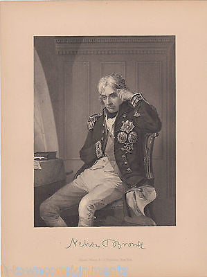 HORATIO NELSON BRITISH NAVAL OFFICER ANTIQUE FACSIMILE AUTOGRAPH ENGRAVING PRINT - K-townConsignments