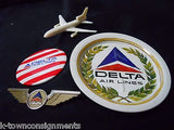 DELTA AIRLINES VINTAGE PLASTIC TOY PLANE PILOT WINGS COASTER ADVERTISING BUTTON - K-townConsignments