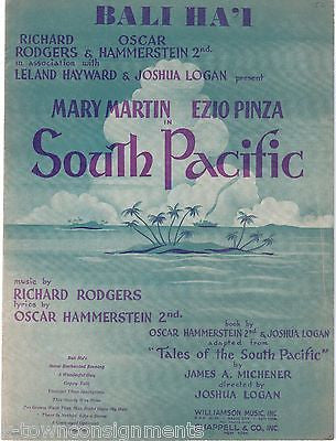 MARY MARTIN SOUTH PACIFIC ROGERS & HAMMERSTEIN VINTAGE 1940s SHEET MUSIC LYRICS - K-townConsignments
