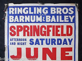 RINGLING BROS BARNUM & BAILEY CIRCUS ORIGINAL ANTIQUE GRAPHIC ADVERTISING POSTER - K-townConsignments