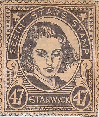 BARBARA STANWYCK MOVIE ACTRESS VINTAGE SEEIN STARS STAMP GRAPHIC PROMO CLIPPING - K-townConsignments
