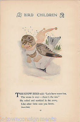 CUCKOOS & SNOW BIRD CHILDREN ANTIQUE GRAPHIC ILLUSTRATION POETRY PRINT - K-townConsignments