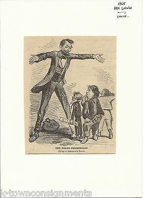 ABRAHAM LINCOLN CIVIL WAR RECONCILIATION ANTIQUE ENGRAVING CARTOON PRINT - K-townConsignments