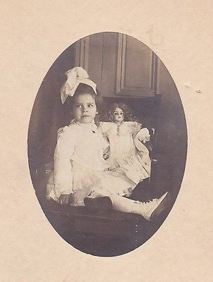 LITTLE GIRL & VICTORIAN PORCELAIN DOLL IN DRESS ANTIQUE PHOTOGRAPH - K-townConsignments
