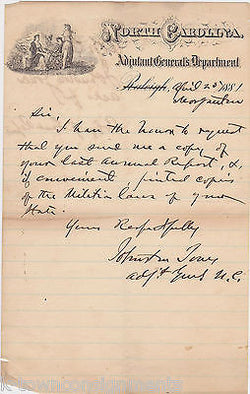JOHNSTON JONES CONFEDERATE OFFICER W/ LONGSTREET & LEE AUTOGRAPHED LETTER 1881 - K-townConsignments