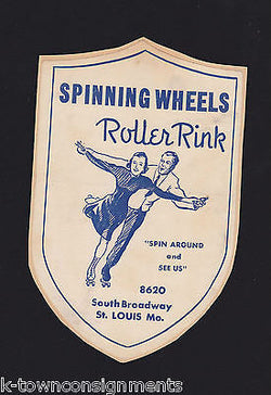 SPINNING WHEELS ROLLER RINK ST. LOUIS MISSOURI VINTAGE GRAPHIC ADVERTISING LABEL - K-townConsignments