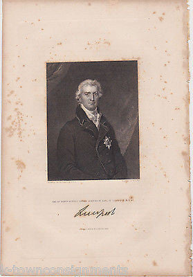 ROBERT BANKS JENKINSON EARL LIVERPOOL ANTIQUE SIGNATURE ENGRAVING PRINT 1835 - K-townConsignments