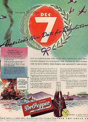 DR. PEPPER SODA PEARL HARBOR MEMORIAL VINTAGE WWII GRAPHIC ADVERTISING PRINT - K-townConsignments