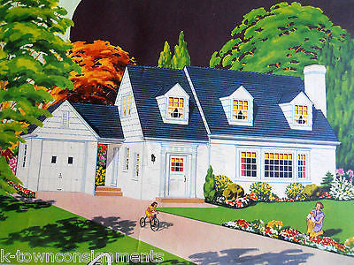 AMERICAN DREAM HOME VINTAGE1940s REAL ESTATE ARCHITECTURE GRAPHIC ADVERTISING - K-townConsignments