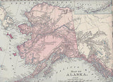 Alaska State Antique 1890s Graphic Illustration Atlas Map Engraving Print - K-townConsignments