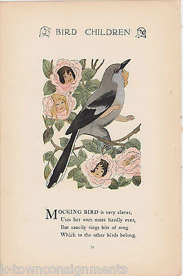 MOCKING BIRD & LOON BIRD CHILDREN VINTAGE GRAPHIC ILLUSTRATION POETRY PRINT - K-townConsignments