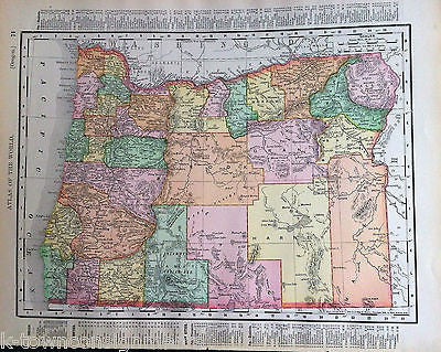 Oregon State Antique 1898 Graphic Illustration Map Atlas Print - K-townConsignments
