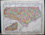 North Carolina State Antique 1898 Graphic Illustration Map Atlas Print - K-townConsignments