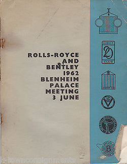 ROLLS ROYCE & BENTLEY BLENHEIM PALACE MEETING VINTAGE AUTO BOOK 1962 - K-townConsignments