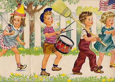 AMERICAN FLAG MARCHING PARADE LITTLE BOYS & GIRLS VINTAGE 1948 GRAPHIC ART PRINT - K-townConsignments