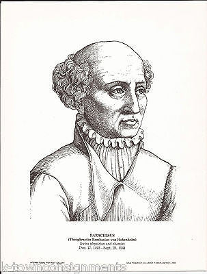 Paracelsus Swiss Physician and Chemist Portrait Gallery Poster Sketch Print - K-townConsignments