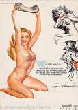 PIN-UP GIRL W IS FOR WOLF-GAL VINTAGE 1950s RISQUE GRAPHIC ART POSTER PRINT - K-townConsignments