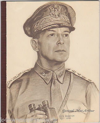 GENERAL DOUGLAS MACARTHUR VINTAGE WWII LITHOGRAPH ART NOTEBOOK BY CARL BOHNEN - K-townConsignments