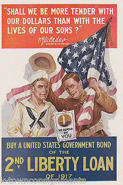ARMY & NAVY DEPEND ON YOU WAR BONDS VINTAGE WWI GRAPHIC ART POSTER PRINT - K-townConsignments