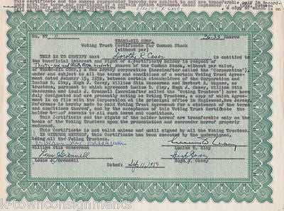 WWII GENERAL HUGH CASEY OCCIDENTAL PETROLEUM AUTOGRAPH SIGEND STOCK CERTIFICATE - K-townConsignments