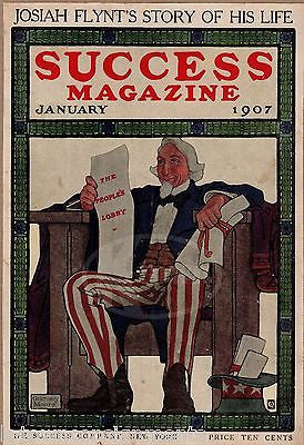 WASHINGTON DC LOBBYING ANTIQUE UNCLE SAM GRAPHIC ART MAGAZINE COVER PRINT 1907 - K-townConsignments