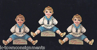 LITTLE SAILOR BOY GERMAN VALENTINES DAY EYELESS ANTIQUE VICTORIAN DIE CUT CARDS - K-townConsignments