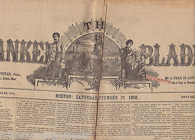 THE YANKEE BLADE BOSTON NEW ENGLAND ANTIQUE NEWSPAPER SEPTEMBER 22 1888 - K-townConsignments
