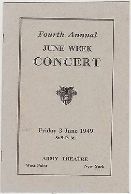 WEST POINT GLEE CLUB VINTAGE ARMY THEATRE CONCERT PROGRAM WITH SONG LYRICS - K-townConsignments