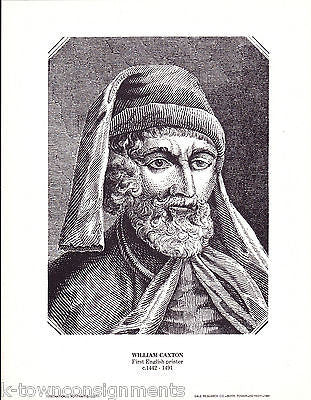 William Caxton First English Printer Vintage Portrait Gallery Poster Print - K-townConsignments
