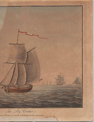 THE SLY CUTTER CLIPPER SHIP ANTIQUE HAND COLORED NAUTICAL ENGRAVING PRINT  1800