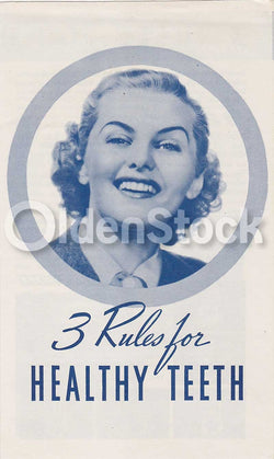 3 Rules for Healthy Teeth Vintage Pepsodent Dental Hygiene Advertising Flyer