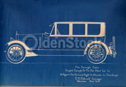 H.H. Babcock Fox Motor Car Sedan Antique Automobile Design Blueprint Poster 1922