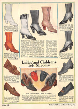 Victorian Women's Boots Shoes Antique Graphic Art Advertising Print 1914