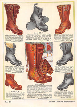 Men's Leather Boots Shoes Antique Graphic Art Fashion Advertising Print 1914