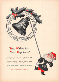 Bell Telephone System Vintage Santa Claus Graphic Christmas Advertising Print 1941