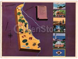 Delaware State Vintage Graphic Art Educational School Map of Delaware 1939