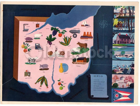 Ohio State Vintage Graphic Art Illustrated Educational School Map of Ohio 1939