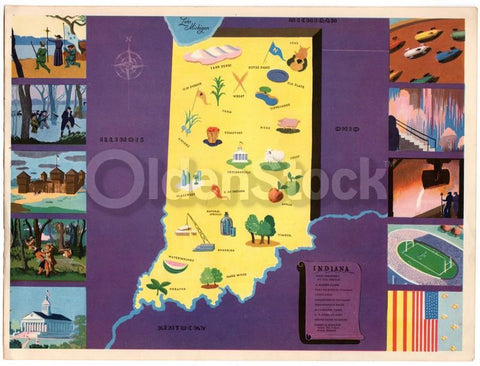 Indiana State Vintage Graphic Art Educational Classroom Map of Indiana 1939