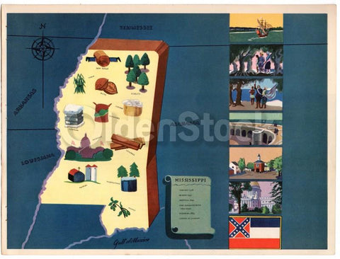 Mississippi State Vintage Graphic Art School Classroom Map of Mississippi 1939